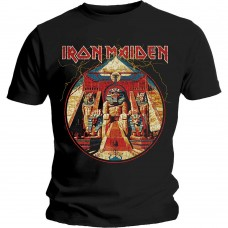 Iron Maiden : Powerslave Lightning Circle (Black) (T-Shirt)