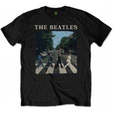 Beatles : Abbey Road and Logo (Black) (T-Shirt)